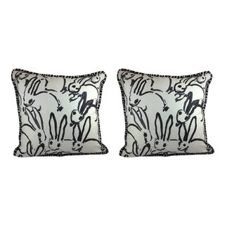 "Hunt Slonem ""Bunny Hutch"" in Black & White Pillows - a Pair"