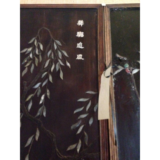 Old Asian Three Panel Screen With Jade and Ivory - Image 6 of 7