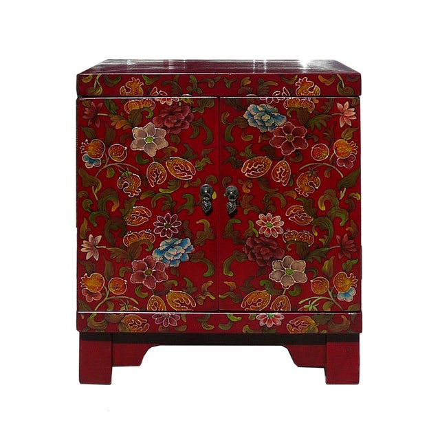 Chinese Red Lacquer Color Flowers End Table - Image 1 of 3