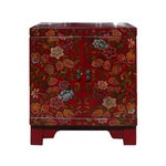 Image of Chinese Red Lacquer Color Flowers End Table
