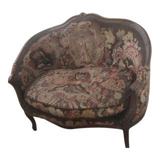 19th Century French Carved Needlepoint Loveseat