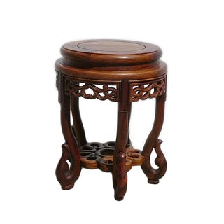 Chinese Huali Rosewood Round Scroll Leg Stool