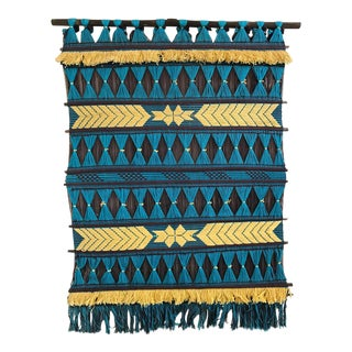 Vintage Turquoise & Yellow Textile Art Hanging