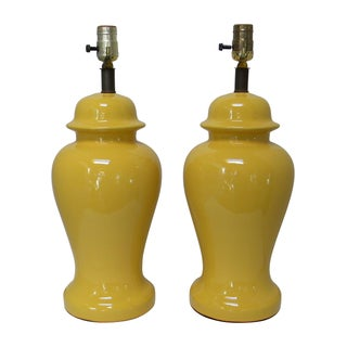 Yellow Ceramic Ginger Jar Style Lamps - A Pair