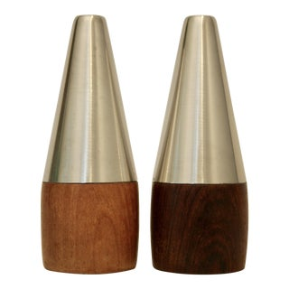 Danish Modern Rosewood & Stainless Steel Shakers - A Pair