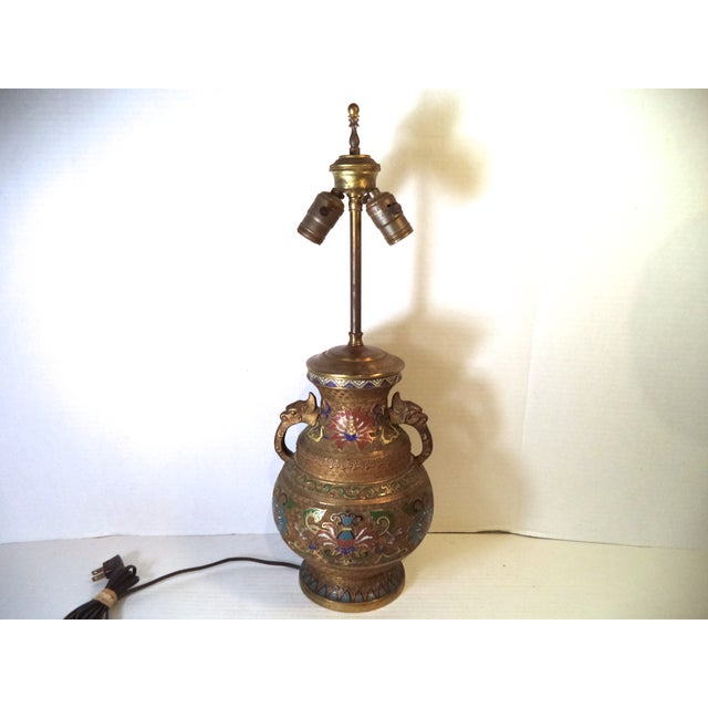 Japanese Champleve Lamp - Image 2 of 6