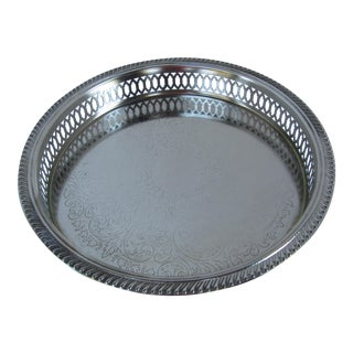 Pierced Silver-Plate Round Tray
