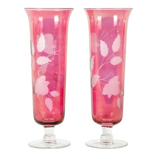 Etched Crystal Cranberry Vases - A Pair