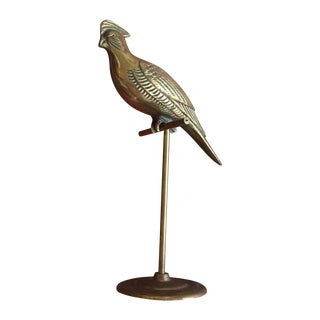 Vintage Brass Perched Bird On Stand