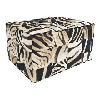 Forsyth Patchwork Zebra Hide Ottoman