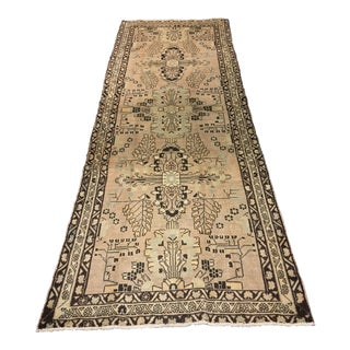 "Earth Toned Vintage Turkish Oushak Runner - 3'5""x9'6"""