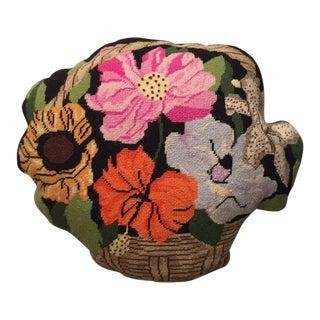1970's Needlepoint Flower Basket Pillow