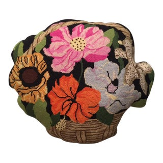 1970's Needlepoint Flower Basket Pillow