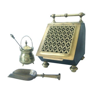 Vintage Brass Coal Scuttle & Pumice Fireplace Lighting Set