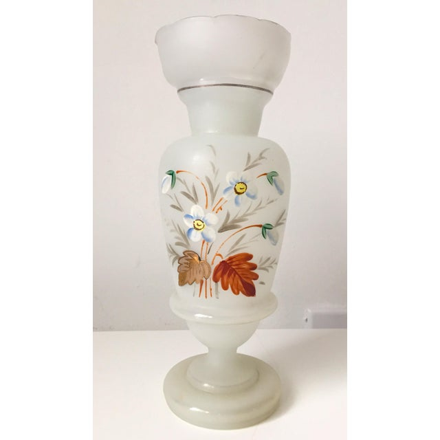 Image of French Opaline Glass Hand Painted Vase