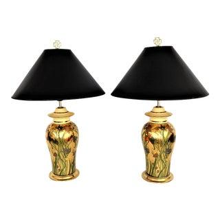 Vintage Metallic Gold Ceramic Floral Ginger Jar Lamps - a Pair Mid Century Modern Millennial Pink