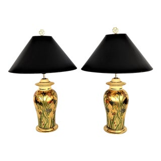 Vintage Metallic Gold Ceramic Floral Ginger Jar Lamps - A Pair