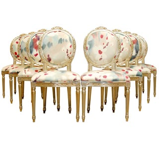 Louis XVI Silver Gilt Dining Chairs - Set of 8