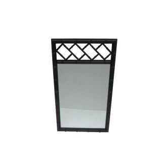 Black Lacquered Mid-Century Faux Bamboo Chinoiserie Fretwork Mirror