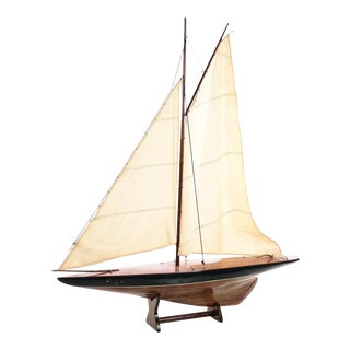 Antique 1920s Model SailBoat w/Stand