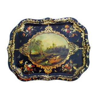 English Castle Mid-Victorian Reproduction Tray