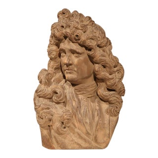 Early 20th Century Hand-Carved Patinated Clay Bust of French Writer Moliere
