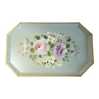 Floral Tole Painted Tray