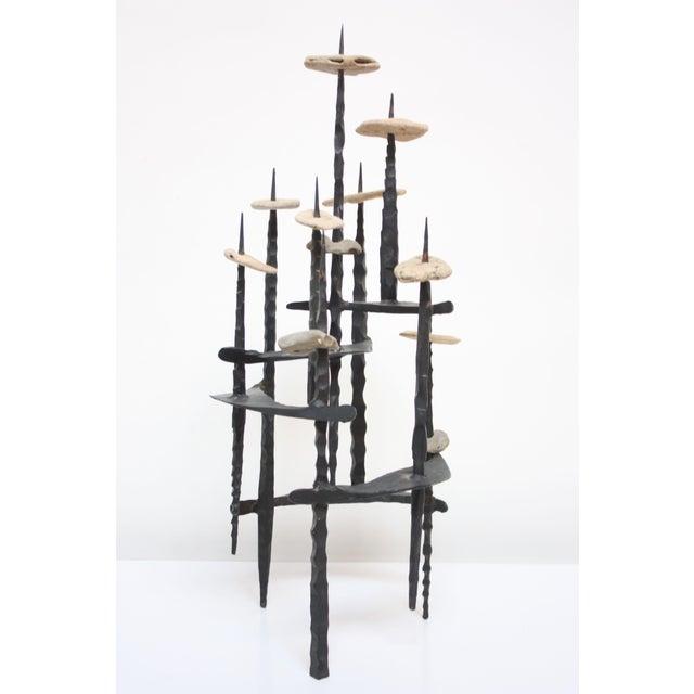 David Palombo Iron and Stone Menorah - Image 3 of 9