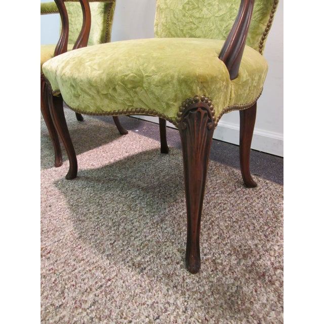 Matching Upholstered French Arm Chairs - Pair - Image 6 of 11