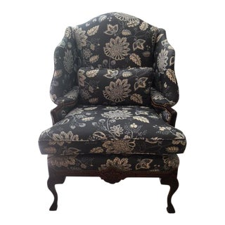 Transitional style Blue Gray Wingbak Chair