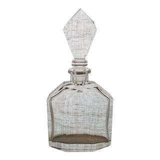 Vintage Geometric Crystal Decanter & Stopper