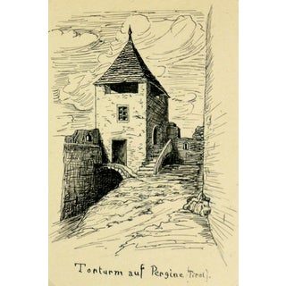 Pen & Ink Drawing of Gate Tower, C. 1920