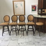 Image of Vintage Hobnail Ostrich Leather Bar Stools & Stool - Set of 5