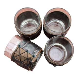 Vintage Copper & Leather Low Ball Whiskey Glasses - Set of 4