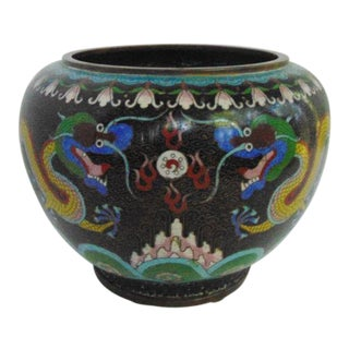 Antique Cloisonne Dragon Planter