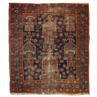 "Antique Distressed Handmade Persian Afshar Rug - 4'1"" x 4'5"""