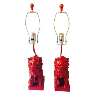 Asian Ming Style Red Foo Dog Lamps - A Pair