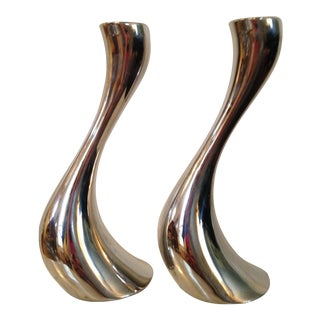 Georg Jensen Steel Cobra Candle Holders - A Pair