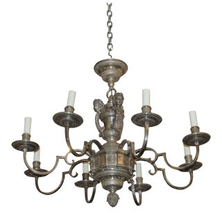 1900s Louis XVI Silver Plated Caldwell Chandelier