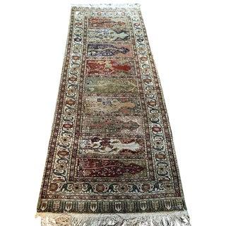 "Vintage Silk Turkish Saph Runner Rug - 2'7"" X 7'3"""