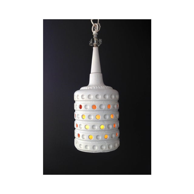 Vintage Pierced Ceramic Pendant Lamp - Image 3 of 6
