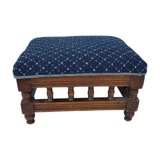 English Victorian Indigo Stitched Footstool