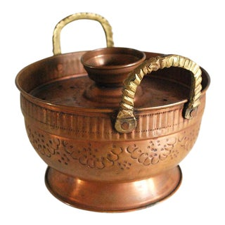 Vintage Israeli Copper Cooking Pot With Lid