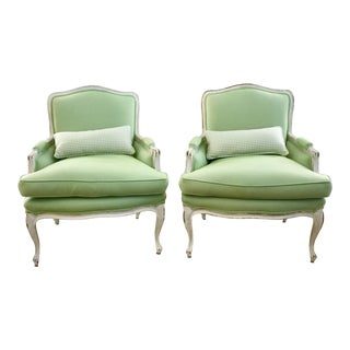 Green Houndstooth Fauteuil Chairs - A Pair