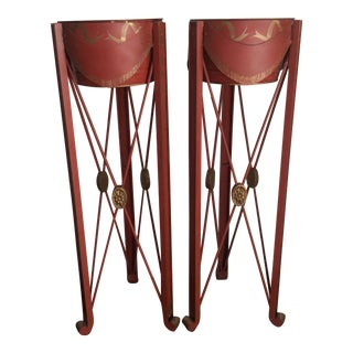 Painted Tole & Bronze Plant Stands - A Pair