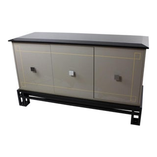 Grey Lacquer Mid-Century Sideboard with Polished Granite Top