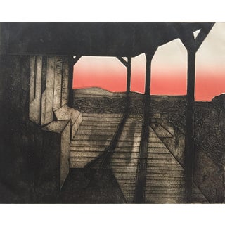 """1970 Judith Klausenstock """"Motherlode"""" Landscape Lithograph"""