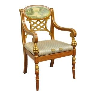 Italian Regency Style Hand Painted Gold Saber Leg Accent Arm Chair