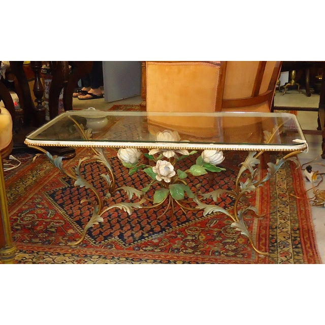 Iron & Glass Italian Tole Painted Coffee Table - Image 2 of 5