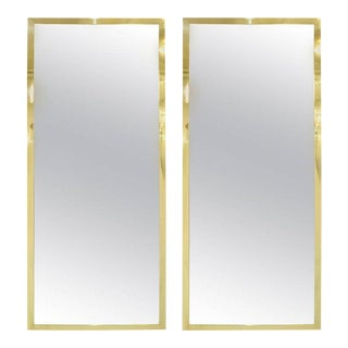 PAIR OF BRASS FRAMED ANTIQUED MIRRORS